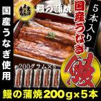 うなぎ 鰻 ウナギ 国産 うなぎ蒲焼  大サイズ蒲焼1尾 解凍前約200g(解凍後約185g) ×5