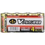 オーム電機 アルカリ乾電池単一4本パック LR20S4PV