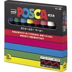 三菱えんぴつ 「サインペン」ポスカ(水性顔料・中字丸芯) 8色セット  PC5M8C