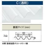 【送料別途】 カーポート屋根88タイプ【透明(C)/ポリカ折板(Y600)】厚み1.5mm 長さ2301〜2400mm(オーダー)働き幅600mm/1枚価格/明かりとり/採光/