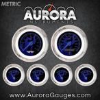 全国配送料無料!オーロラ楽器 6420 ゴースト炎黒青い炎の指標 6 ゲージ セット (青モダンな針、クローム トリム リング スタイル