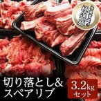 ふるさと納税 土浦市 佐藤畜産の極選豚 切り落とし&スペアリブ合計3.2kgセット