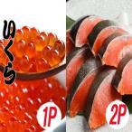 ふるさと納税 根室市 いくら醤油漬け100g×1P、紅鮭切身5切×2P A-70028