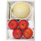 お歳暮 ギフト フルーツ 詰め合わせ 国産マスクメロン1玉・信州サンふじりんご4玉