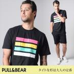 PULL&BEAR プルアンドベア Tシャツ メンズ 夏 夏服 トリコロール プリント 半袖 クルーネック 黒 M/L