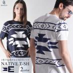 ネイティブ柄Tシャツ  Tシャツ メンズ メンズ Tシャツ Vネック Uネック クルーネック ネイティブ柄 ペンドルトン柄 チーフジョセフ柄