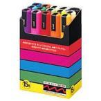 三菱鉛筆 [サインペン] ポスカ (水性顔料・中字丸芯) 15色セット PC5M15C