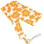 ラスタバナナ スカーフ風ネックストラップ 花柄  オレンジ RNST01FOR