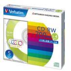 【お取り寄せ】三菱化学メディア Verbatim SW80QM5V1 (CD-RW / 700MB / DATA / 4倍速 / 5枚 / カラーミックス)