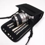 Nikon1 J5ケース-ダブルズームレンズ用(ブラック・カーボンストライプ)--カラビナ付--suono(スオーノ)ハンドメイド