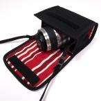 Nikon1 J5ケース-ダブルズームレンズ用(ブラック・ボルドーストライプ)--カラビナ付--suono(スオーノ)ハンドメイド