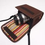Nikon1 J5ケース-ダブルズームレンズ用(ココア)--カラビナ付--suono(スオーノ)ハンドメイド