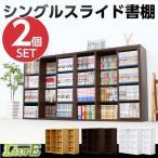 本棚 スライド式本棚 スライド書棚 幅90 奥行き29 シングルスライド 浅型タイプ 2個セット キャスター付き 大容量 CD収納 DVD収納 雑貨収納 収納棚