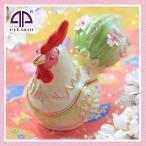 にわとり ニワトリ 鳥 雄鶏 干支 酉年 オブジェ 置物 ピィアース 宝石箱 新年 お年賀 お祝い 夫婦
