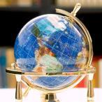 ジュエリーボックスピィアース 8cm水晶地球儀(3脚) 天然石地球儀  究極の一
