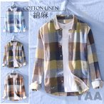 メンズ 長袖シャツ カジュアルシャツ リネンシャツ 麻シャツ チェック柄 開襟シャツ 薄手 夏物 新作