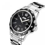 カシオ 腕時計 ブランドTonshen Men's Fashion Watches Quartz Analog Date Stainless Steel Strap Business Casual Watch,Black 正規輸入品