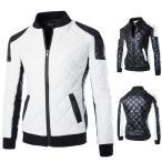 革ジャン メンズ レザージャケット ライダースジャケット 革コート 皮コート キルティングジャケット バイクウェア スタンドカラー