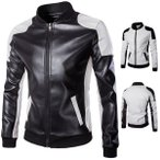革ジャン メンズ レザージャケット ライダースジャケット 革コート 皮コート バイクウェア 切り替え アウター スタンドカラー