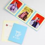写真台紙 ペーパー フォトフレーム 祝・七五三/鳥居・千歳飴 Lサイズ (89×127mm) 3面タテ ブルー