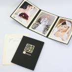 ペーパー フォトフレーム 写真台紙  ウエディング 結婚式 WEDDING/桜 Lサイズ (89×127mm) 3面タテ ブラック