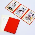 ペーパー フォトフレーム 写真台紙 無地表紙 2Lサイズ 3面タテ レッド (メッセージカード:ツタ)