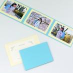 山田屋台紙店 無地表紙 写真台紙 2Lサイズ 3面ヨコ  封筒付き メッセージカード ツタ   ブルー
