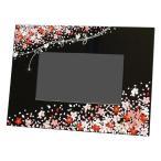 名入れ・送料無料 贈る漆器のデジタルフォトフレーム 花束(黒) 蒔絵