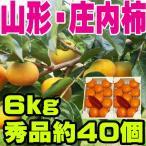 山形県産 庄内柿 秀品6kg約40個入り(3kg箱×2) 送料無料 化粧箱 種無し柿 特産