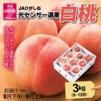 もも 桃 8月下旬頃から発送 JAさくらんぼひがしね「山形の白桃」 秀品3kg(9〜12個) 品種おまかせ 送料込