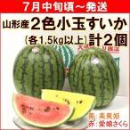 すいか スイカ 山形県村山市産「2色小玉すいか」 各1,5kg以上(計2個) 期間限定セール