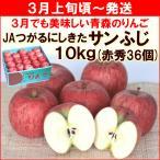 りんご サンふじ 3月上旬頃から発送・青森県産 JAつがるにしきた「サンふじ」 赤秀 10kg(36個) 送料込