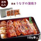 うなぎ 冷凍 国産うなぎの蒲焼 100g串×3袋 タレ・山椒3袋付き 送料込