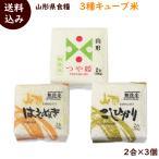 山形県産「三種キューブ米」 (つや姫・コシヒカリ・はえぬき 各300g(2合) 計3個)×2箱 送料込