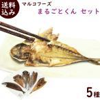 骨まで食べられる干物 まるごとくん 5種各1枚(あじ・さんま・かます・金目鯛・ほっけ) 送料込