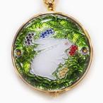 懐中時計 国産 七宝 うさぎと木の実(緑)恋うさぎシリーズ