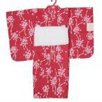 ショッピング子供 浴衣 子供浴衣 110cm 女の子 5〜6才 2点セット 赤色花