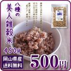 ポイント消化 ぽっきり 安い お試し 美人雑穀米450g 岡山県産 国産100% 大麦・もち麦他  送料無料 ダイエット もち米 玄米