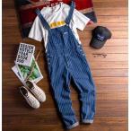 サロペット オーバーオール メンズ デニム パンツ ジーンズ デニムパンツ 細身 ストライプ ロンパース サロペットパンツ ズボン ファッション カッコいい  人気