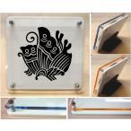 家紋盾【揚羽蝶】アクリル製カラーエッジ スタンド型二層式の家紋盾150mm