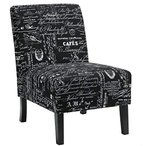 Cortesi Home CH-AC520947 Chicco Fabric Armless Accent Chair, Black Scr