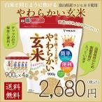 新米 米 玄米 お試し 小容量 簡単 やわらかい玄米 900g×4袋 富山コシヒカリ ごはん