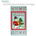 約60cmパネル ペパーミント地にポップな大小スノーマンのパネル柄 クリスマス Benartex Michele D'Amore ベナテックス   輸入生地 USAコットン