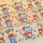 Lecien ハート&ドットにキュートなアニマルのカフェカーテンパネルルシアンのレトロな動物柄の生地 Merry Bon Bon 約60cmパネル 手芸の柳屋