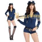 紺 長袖 ベルト 手錠 帽子 婦人警官 警察 制服 ポリス コスプレ衣装