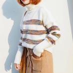 ショッピングタートルネック カラフルボーダー柄タートルネック長袖ゆるリブ編みニットセーター