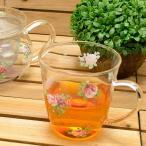 耐熱 マグカップ おしゃれ ガラス 花柄 バラ柄 薔薇 雑貨 選べる4種