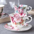コーヒーカップ ソーサー セット おしゃれ 花柄 薔薇雑貨 選べる5種