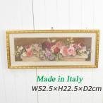 イタリア製 額絵 バラ 壁飾り 長方形 イタリー 花柄 薔薇雑貨 91533