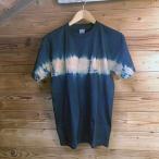 ショッピング柄 藍と柿渋染め横センターTシャツ